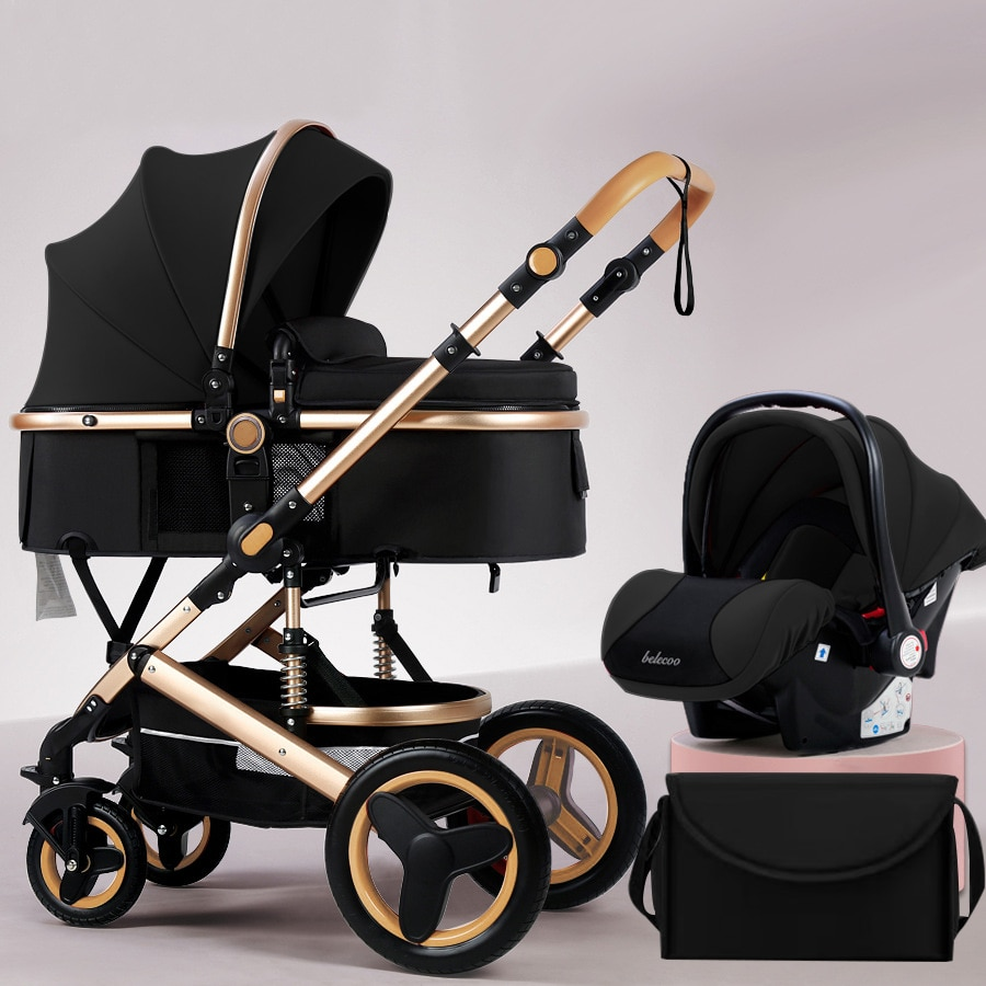 Belecoo 3 in 1 Baby Stroller High Landscape Carriage Light Two-way Shock-absorbing Pram For Newborn baby Send Bags