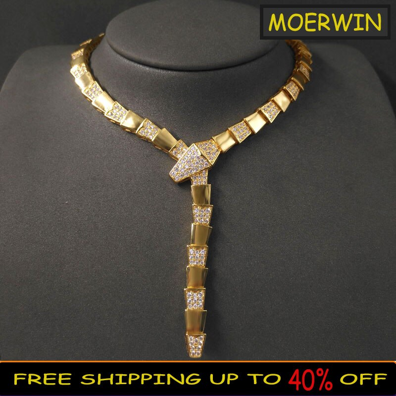 Promo Popular Fashion Golden Snake-shape Necklace Sterling Silver 925 Necklace High Sense Light Luxury For Women's Brand Party Jewelry