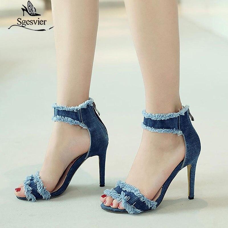 ¡Novedad de 2020! Zapatos deportivos SGESVIER de vaquero azul, sandalias sexis a la moda de verano para mujer, sandalias vaqueras de tacón alto sexis con punta abierta, OX399