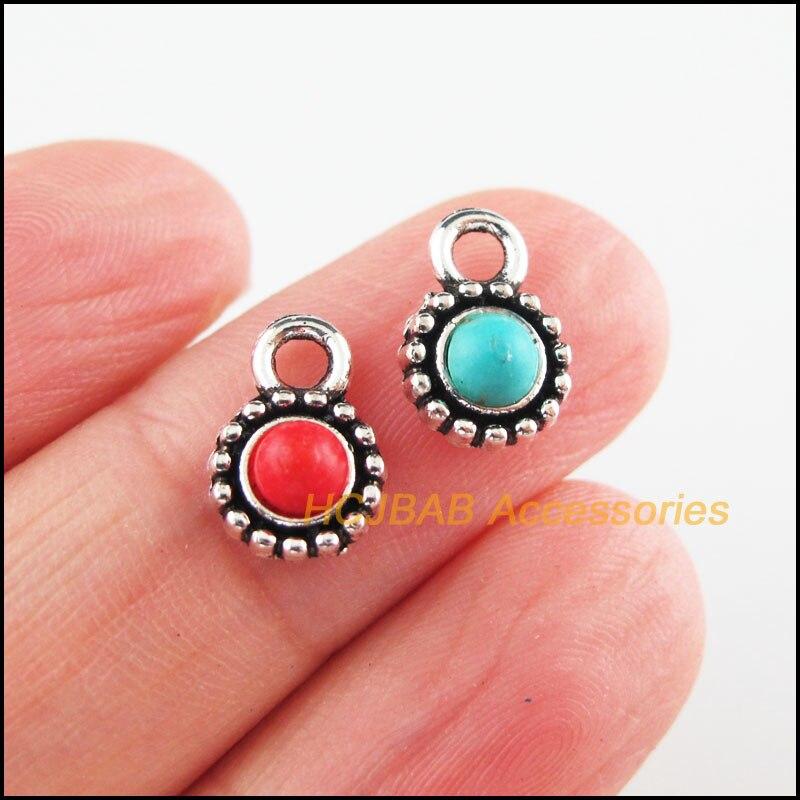 25 pçs tibetano prata tom flor vermelho & azul pedra minúsculos redondo encantos pingentes 7x11mm