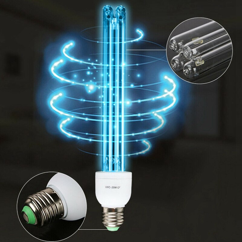 E27 UV Germicidal Disinfection Lights 20W High Ozone UV Ultraviolet 220V Lamp