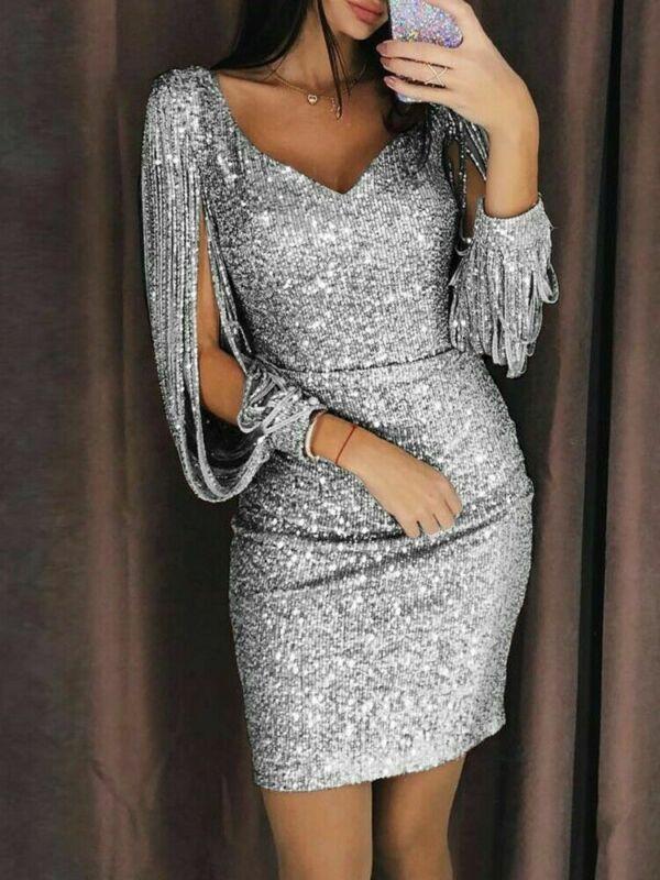 Tassel manga larga Sexy mujer Sequin vestido V cuello fiesta noche Mini vestido para mujeres Vintage corto negro oro plata verano