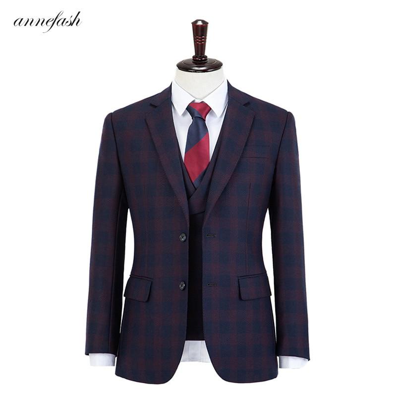 الصوف الصوف الأزرق والأحمر زجاج النافذة منقوشة تويد الرجال البدلة مخصص الرجعية الرجال الزفاف السترة دعوى 3 قطعة