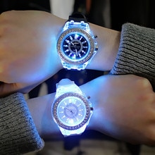 Woman Flash Luminous Quartz Watch Led light Personality Trends Students Lovers Jellies Men's watches