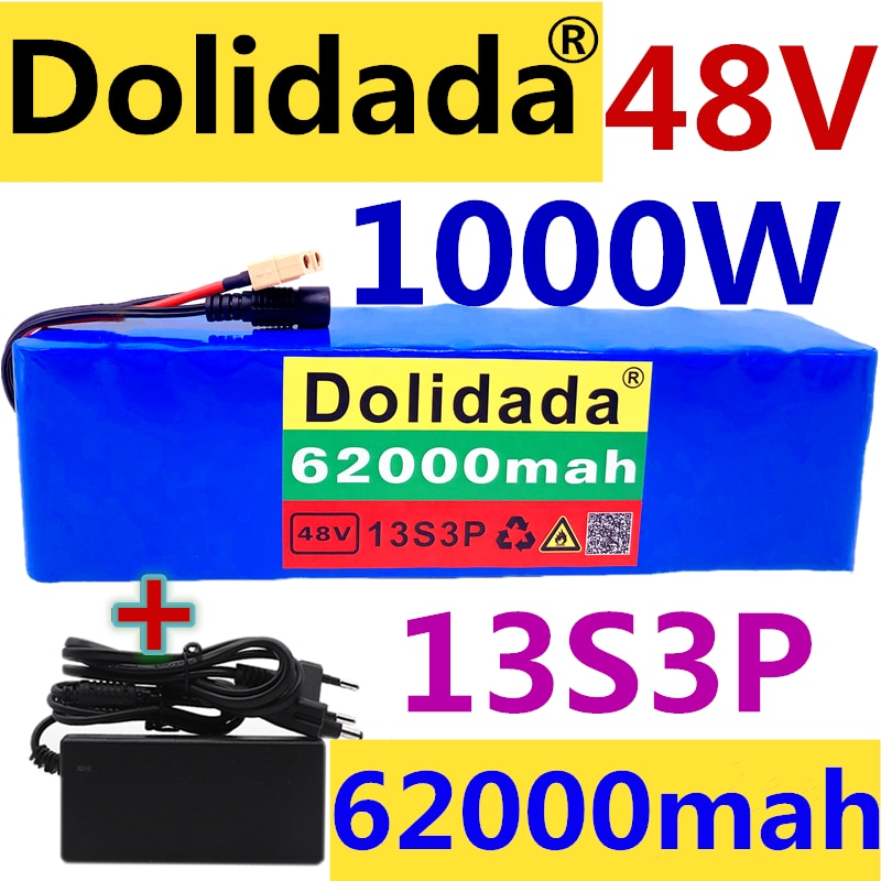 XT60-بطارية ليثيوم أيون للدراجة الكهربائية ، 48 فولت ، 1000 فولت ، 54.6 واط ، 13S3P ، مع BMS وشاحن 54.6 فولت