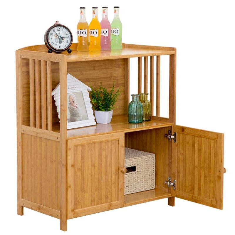 خزانة مطبخ خشبية صلبة متعددة الوظائف ، خزانة جانبية بسيطة ، رف فرن الميكروويف ، تخزين الشاي