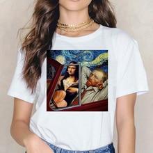 Mona lisa Van Gogh T-shirt hip hop Frauen Kunst Top T-shirt Harajuku Lustige Drucken T-shirt Ullzang Fashion Tees kleidung weibliche