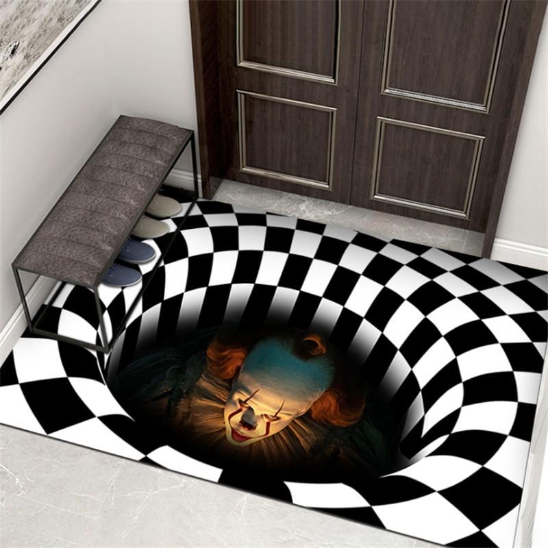 Halloween Decoration Sewer Manhole Cover Clown Carpet Halloween Absorbent Mat Skeleton Bathroom Door Mat Christmas Decoration