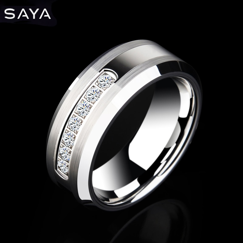 2021 Men Tungsten Rings for Wedding with Shiny Seven CZ Stones by CNC Fashion Jewelry, Free Shipping, Engraving