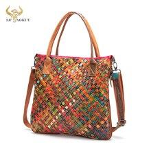 Colorful Thick Leather Famous Luxury Ladies Patchwork Large Shopper Purse Handbag Shoulder bag Women