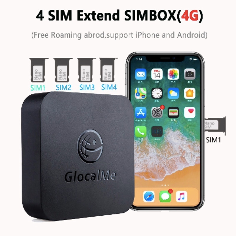 SIM-Router for iOS & Android , Multiple 4 SIM Dual Standby No Roaming 4Gsimbox,work with WiFi  Data to Make Call &SMS