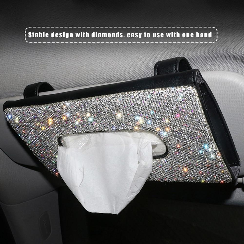 Прозрачная автомобильная коробка для салфеток, солнцезащитный козырек, Алмазная кожа, автомобильный держатель салфеток, чехол, солнцезащи...