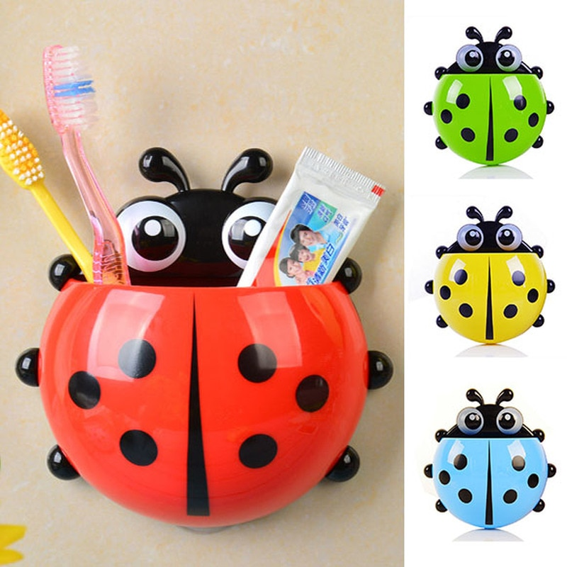 1pcs Ladybug Animal Insect Toothbrush Holder Bathroom Cartoon Toothbrush Toothpaste Wall Suction Holder Rack Container Organizer