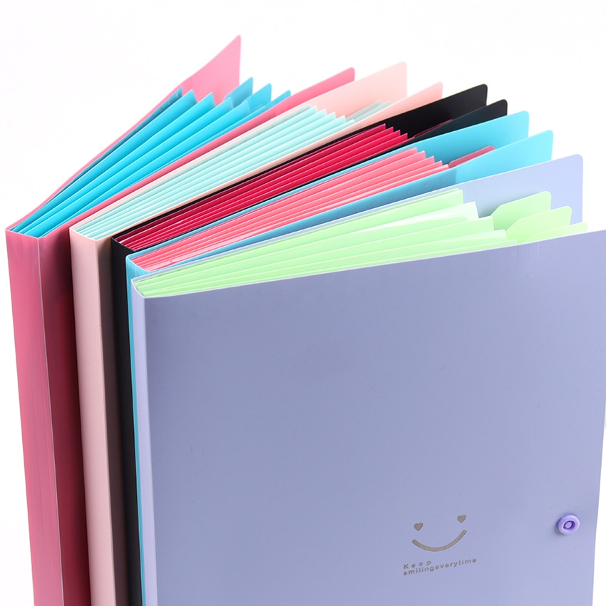 1PC New A4 Kawaii Document Bag Waterproof File Folder 5 Layers Document Bag Office Stationery Storages Supplies