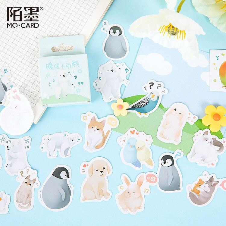 46 unidades/pacote kawaii adesivos animais adesivo adesivos álbum diário vara etiqueta decorações
