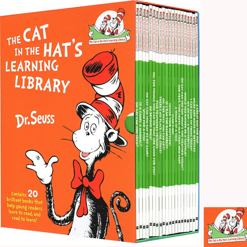 20 Books/Set Dr Seuss Cat In The Hats Learning Library English Story Books for Children Coloring Book