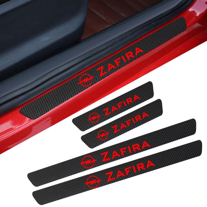 4 Uds puerta de diseño de coche de fibra de carbono Placa de raspado pegatina decorativa para Opel Zafira Astra H G J Insignia Mokka accesorios de coche