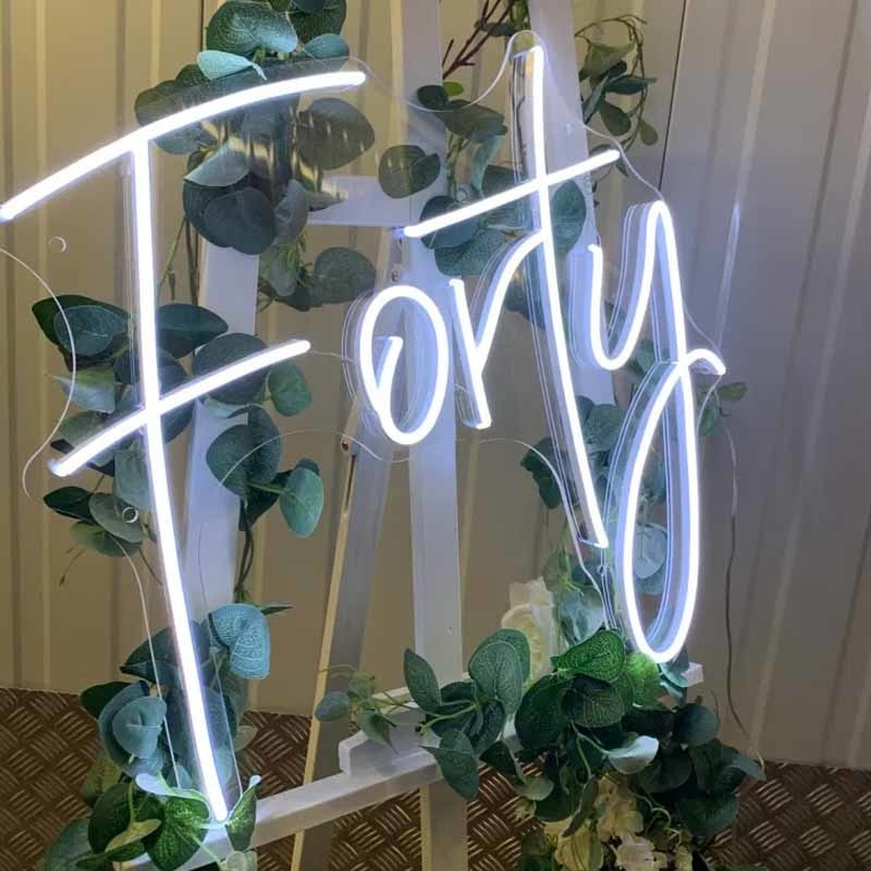 OHANEONK Custom Led Forty 40 Happy Birthday Backdrop Neon Light Sign for Home Bar Wall Bedroom Party Decorative Gifr enlarge