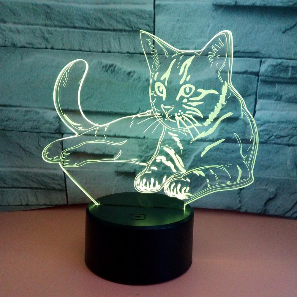 3D акриловый кошачий базовый светильник, ночник с сенсорным управлением, светодиодный светильник с USB зарядкой, 7 цветов, настольная лампа дл...