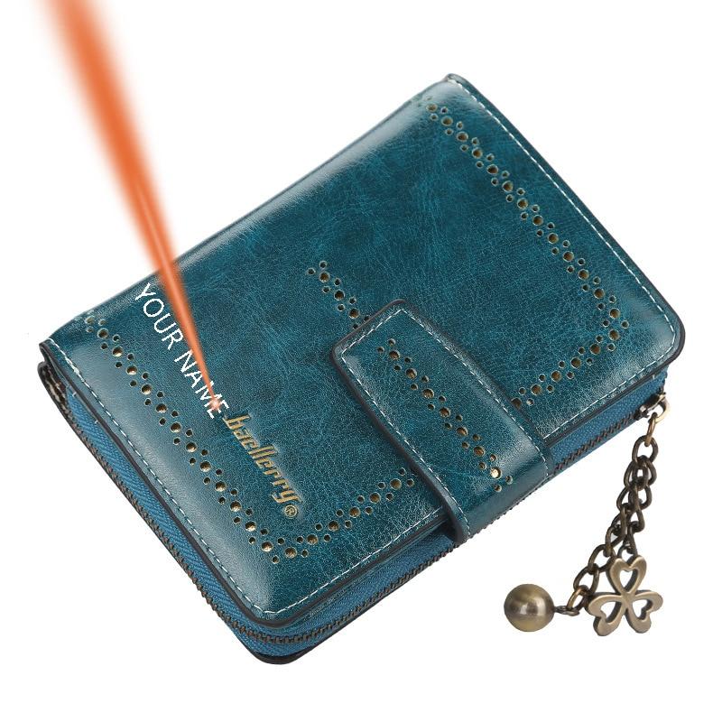 Baellerry Women Engraving Custom Name Wallet Vintage Bifold PU Leather Short Card Holder Personalize