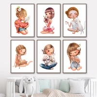 cartoon girl deer cat rabbit swan nursery wall art canvas painting nordic posters and prints wall pictures baby kids room decor