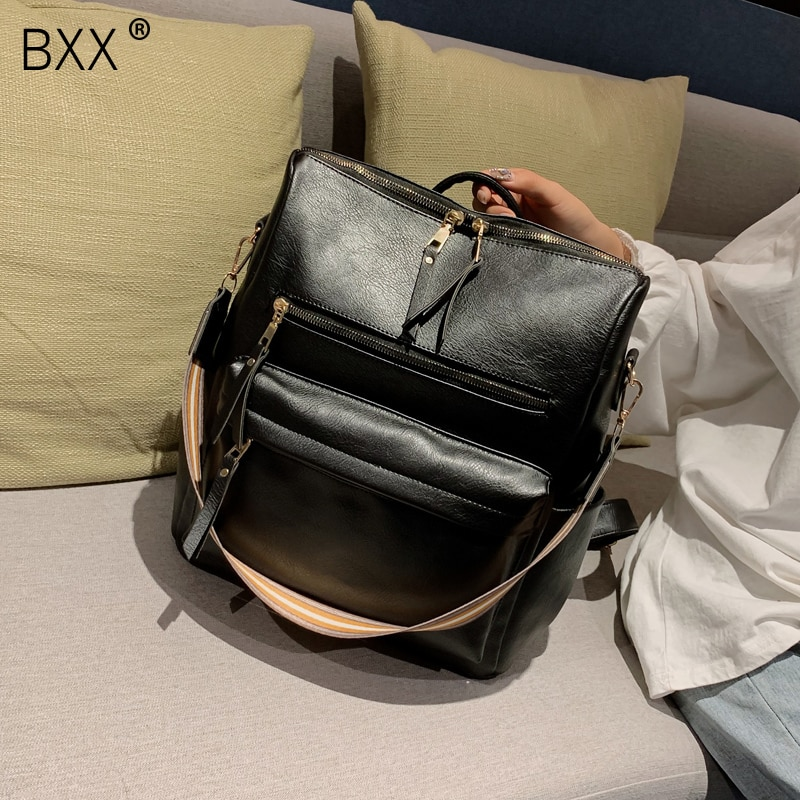 [BXX] Quality High Capacity Backpack For Women 2021 Solid Color All-match PU Leather Back Pack Teens Girls School Backpack HK311