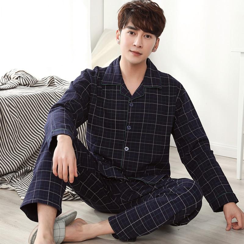 Зимние хлопковые пижамы для мужчин, удобная одежда для дома, 2021 Домашняя одежда размера плюс пижама в клетку Homme 2 предмета в комплекте, одежд...