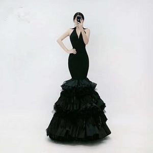 New Simple Design v-neck  Long  Black Evening Dresses Party Gowns Custom Made Size 4 6 8 10 12 14 16 18+ E81