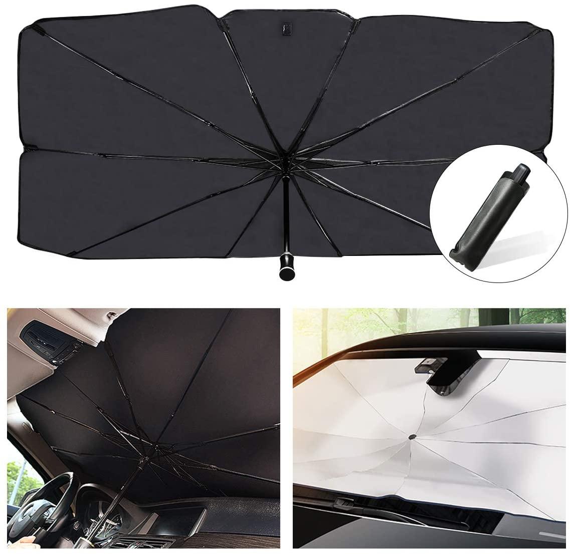Универсальный автомобильный зонт от солнца, автомобильный солнцезащитный козырек, серебристый солнцезащитный козырек для лобового стекла...