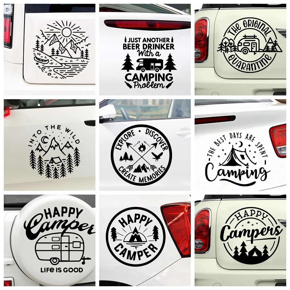 car stickers biker inside funny decal auto window body waterproof removable decor car styling cars accessories glue sticker pvc Funny Camp Life Car Sticker For Auto Decal Window Waterproof Removable Decor Car-styling Cars  Glue Decoration Stickers PVC
