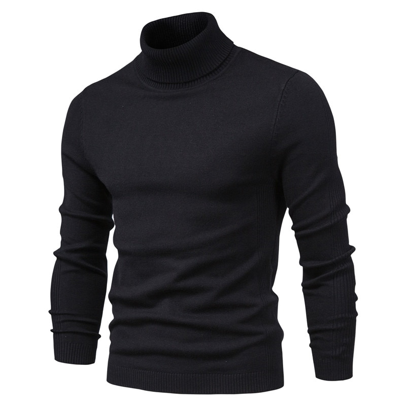 10 Color Winter Mens Turtleneck Sweaters Warm Black Slim Knitted Pullovers Men Solid Casual Male Autumn Knitwear