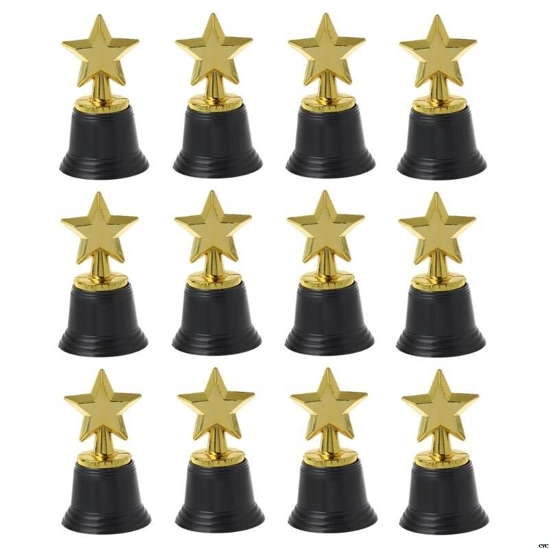 """12 Uds., trofeos de Estrella de oro, 4,5 """", trofeo de estrella de oro para los premios, premios de los premios, fiestas de Hollywood, jardín de infantes escolar"""