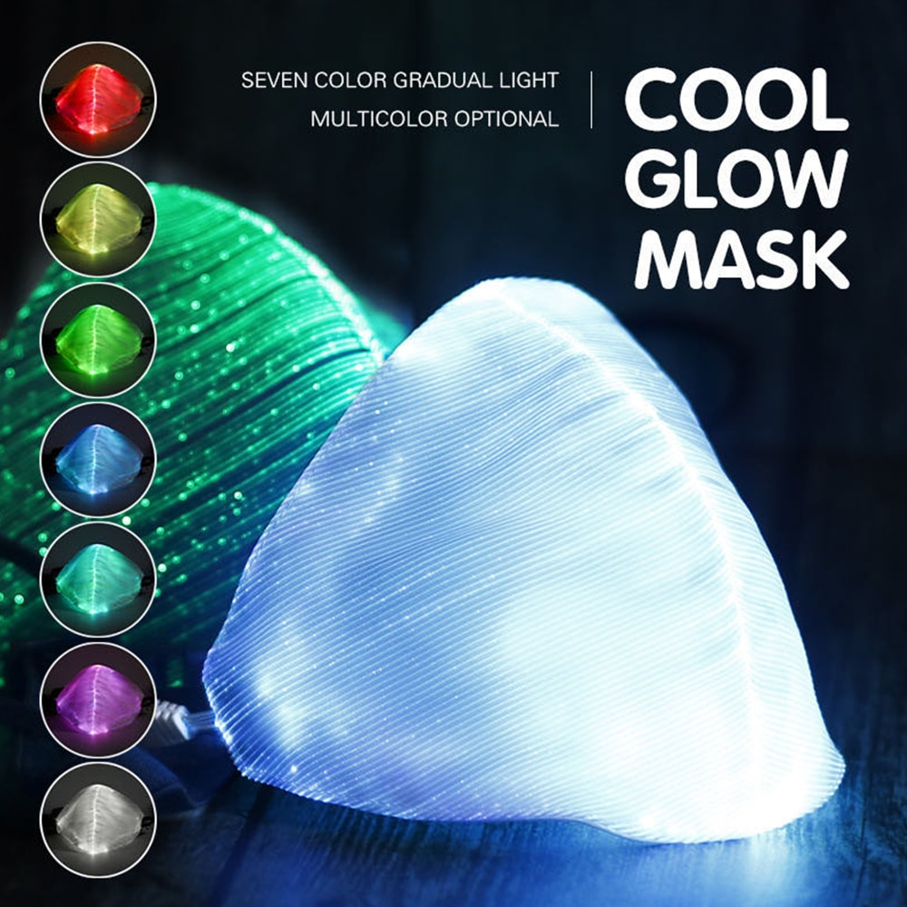Mascarilla facial brillante con luz LED, mascarilla recargable vía USB a prueba de polvo para Halloween, Navidad, fiesta, Festival y baile