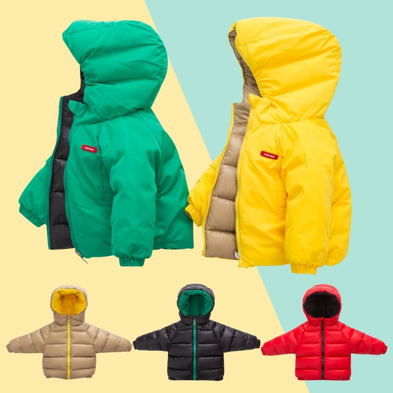جديد 2021 معطف شتوي للأطفال البنات والأولاد ذو وجهين قابل للارتداء مزود بقلنسوة وسترة حرارية مقاس 100-140