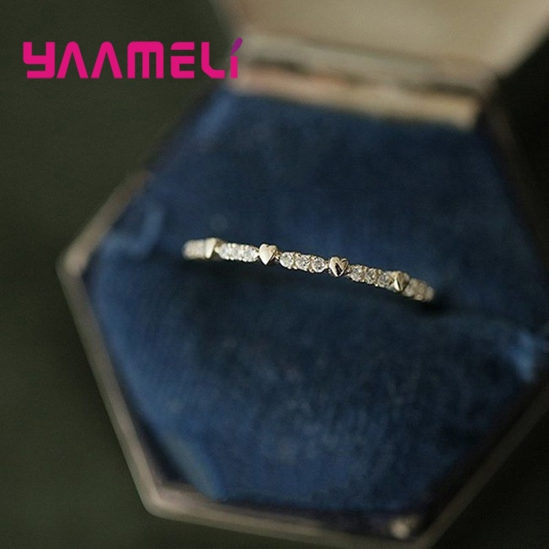 Forever Love 925 Sterling Silver Finger Ring Romantic Cubic Zircon Rhinestone Hearts Stackable Bands Wedding Anniversary Gift