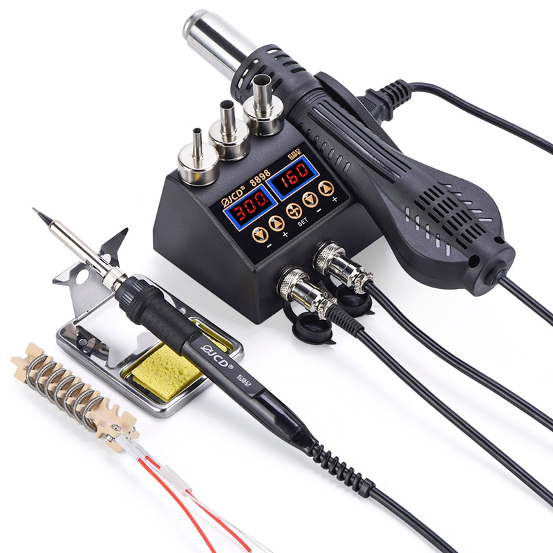 JCD Soldering Station 8898 LCD BGA SMD Hot Air Gun Adjust Temperature for Cell-phone Soldering Iron Station Welding Rework Tool 3 zones hot air optical precision optical alignment system bga rework station for phone reparing