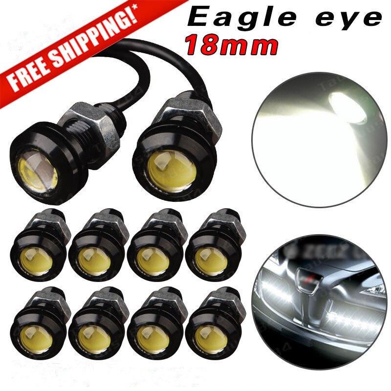 10 Uds 18mm 23mm 12V 24V 6000k blanco ojo de águila del coche freno de la cola de la Singal niebla luz LED