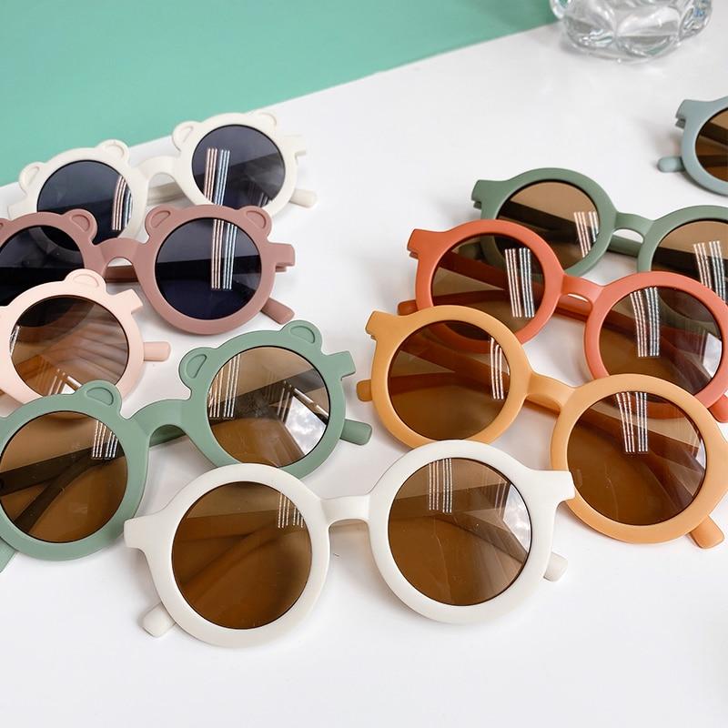 2021 Boy Girl Cute Cartoon Bear Shape Fashion Round Sunglasses Children Vintage Sunglasses UV Protec