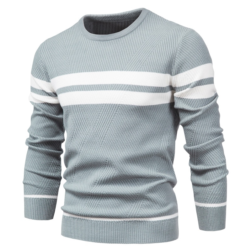 New Autumn Pullover Men's Sweater O-neck Patchwork Long Sleeve Warm Slim Sweaters Men Casual Fashion Sweater Men Clothing