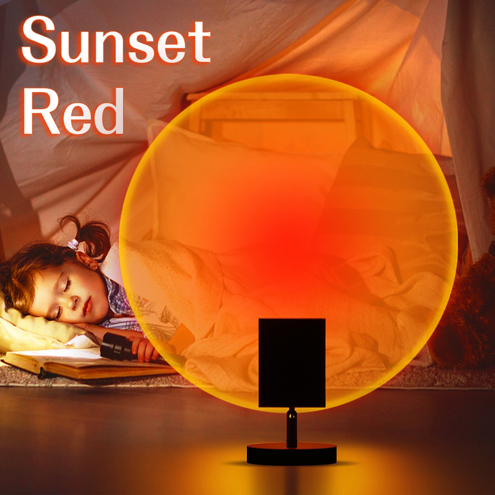 180 Degree Rotation Sunset Projection Night Lights Live Broadcast Background Projector Atmosphere Rainbow Lamp Room Decoration enlarge