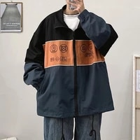 autumn new trend color matching jacket mens port fashion brand student loose casual versatile windbreaker