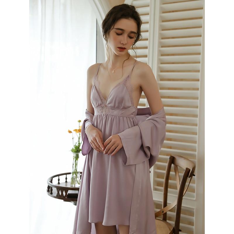 رداء نوم رومانسي مجموعات بيجامة فستان ستان ملابس خاصة للنساء