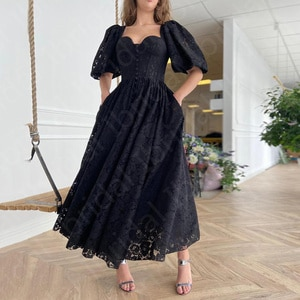 Gorgeous Black Lace Evening Dresses Ankle Length Back Out Wedding Guest Gowns with Half Sleeves Little Black Dress Front Slit