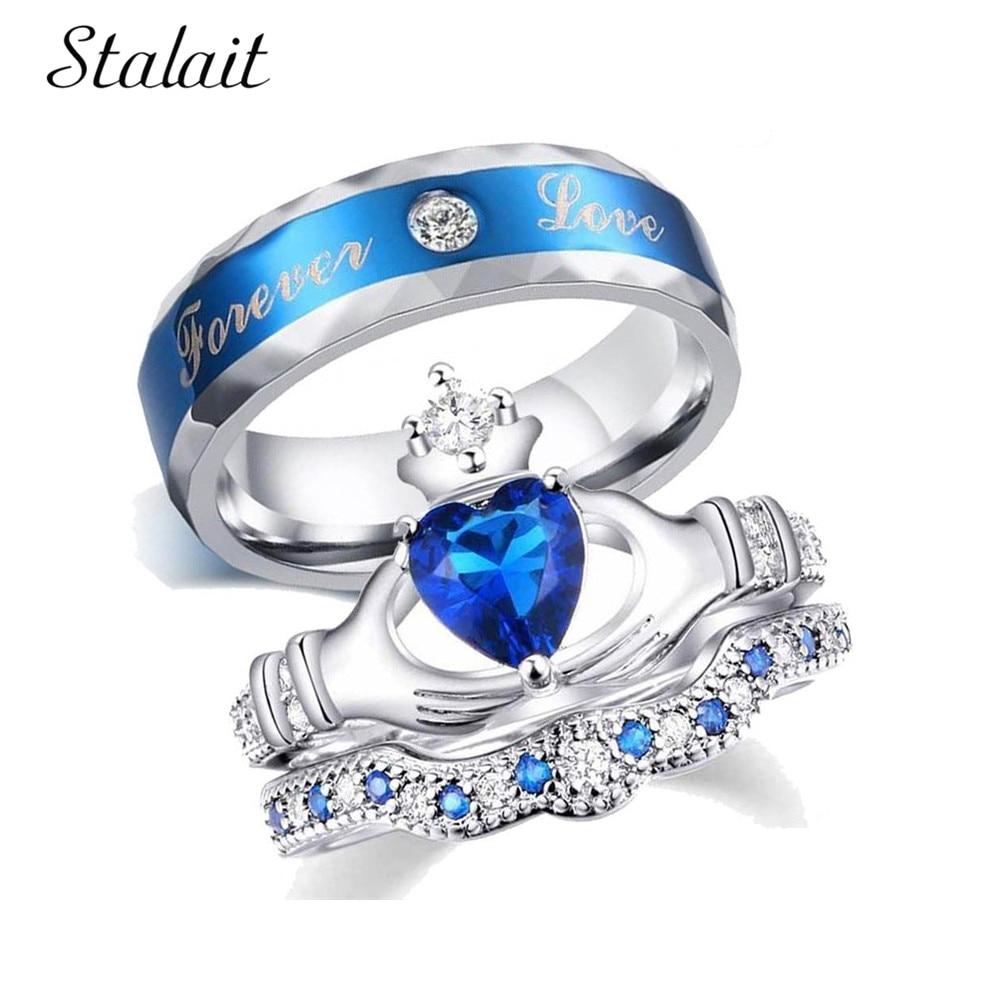 Conjunto de anillos de amor azul para siempre de lujo corona de mano corazón zirconio anillos Mujer hombre Color plata Metal Día de San Valentín anillo de joyería