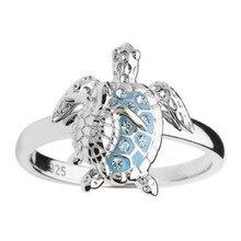 Креативное двухцветное кольцо с кристаллами «маленькая морская черепаха» для женщин, летнее пляжное женское серебряное кольцо, аксессуары...