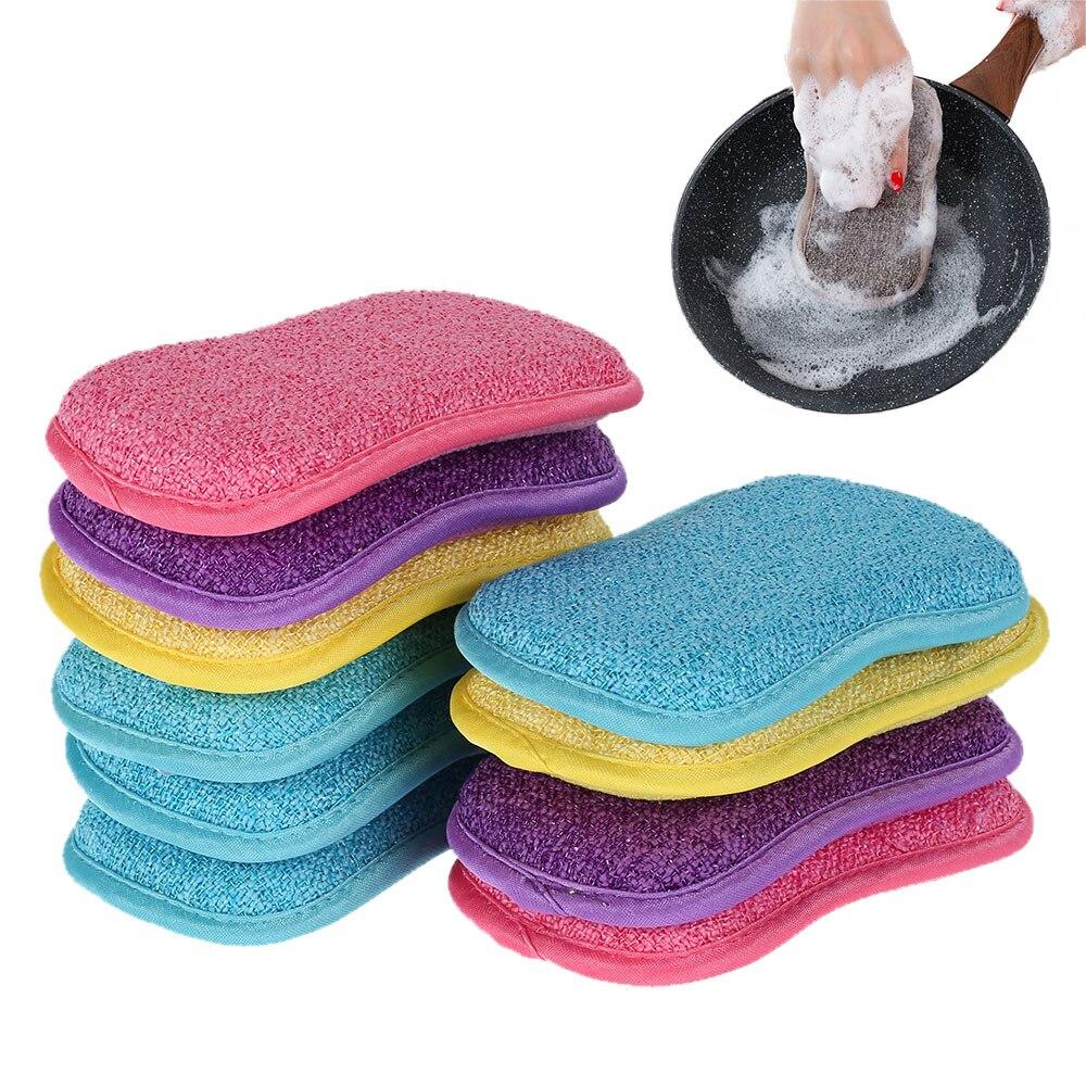 10Pcs Household Kitchen Sponge Brush Cleaning Sponge Scrubber for Dishwashing Sponge Bathroom Accessories Magic Eraser недорого