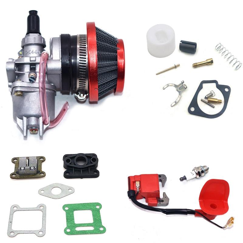 مكربن 47cc 49CC مع فلتر هواء 44 مللي متر ، ملف إشعال فضي أحمر وأزرق ، لـ Mini Moto Dirt Pocket Bike ATV Quad