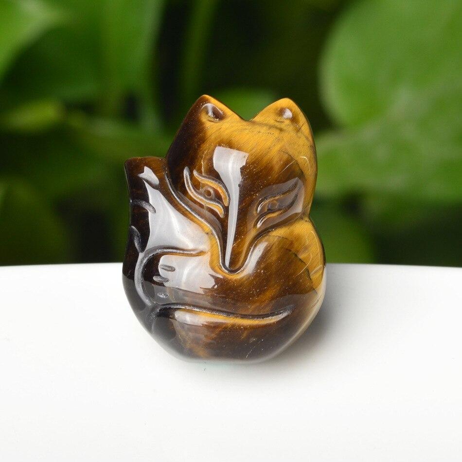 Colgante con abalorio de ojo de tigre Natural, piedra de Jade y zorro, accesorios de moda, amuleto de la suerte tallado a mano para hombre y mujer, regalos