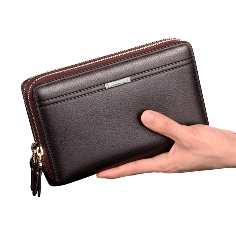 Free Return New Men Handbag Double Zipper Clutch Bag Men's Leather Business Hand Bag Long card Purse Large Capacity Wallets