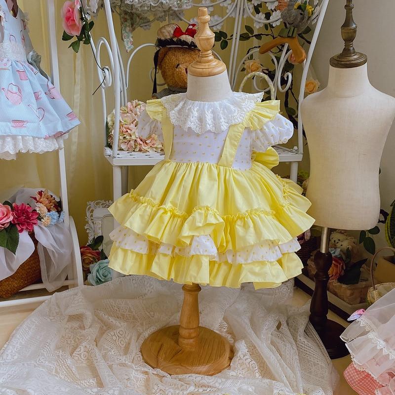 NOVEDAD DE VERANO 2020, vestido de princesa mullido con cuello de muñeca español amarillo brillante, vestido de pastel de manga corta, vestidos infantiles para niñas